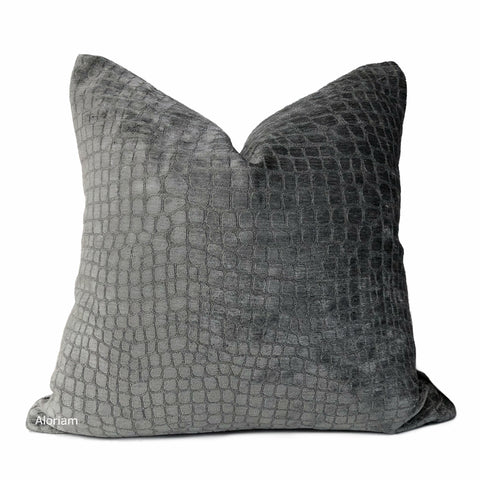 Graphite Gray Crocodile Alligator Pattern Chenille Velvet Pillow Cover