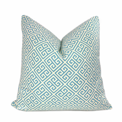 Corinth Spa Blue & Cream Greek Key Pillow Cover
