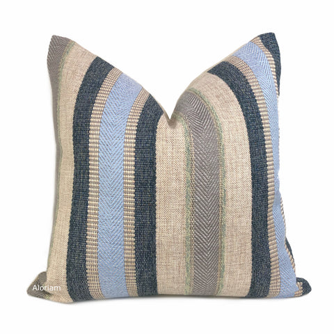 Ogilvie Blue Beige Textured Stripe Pillow Cover