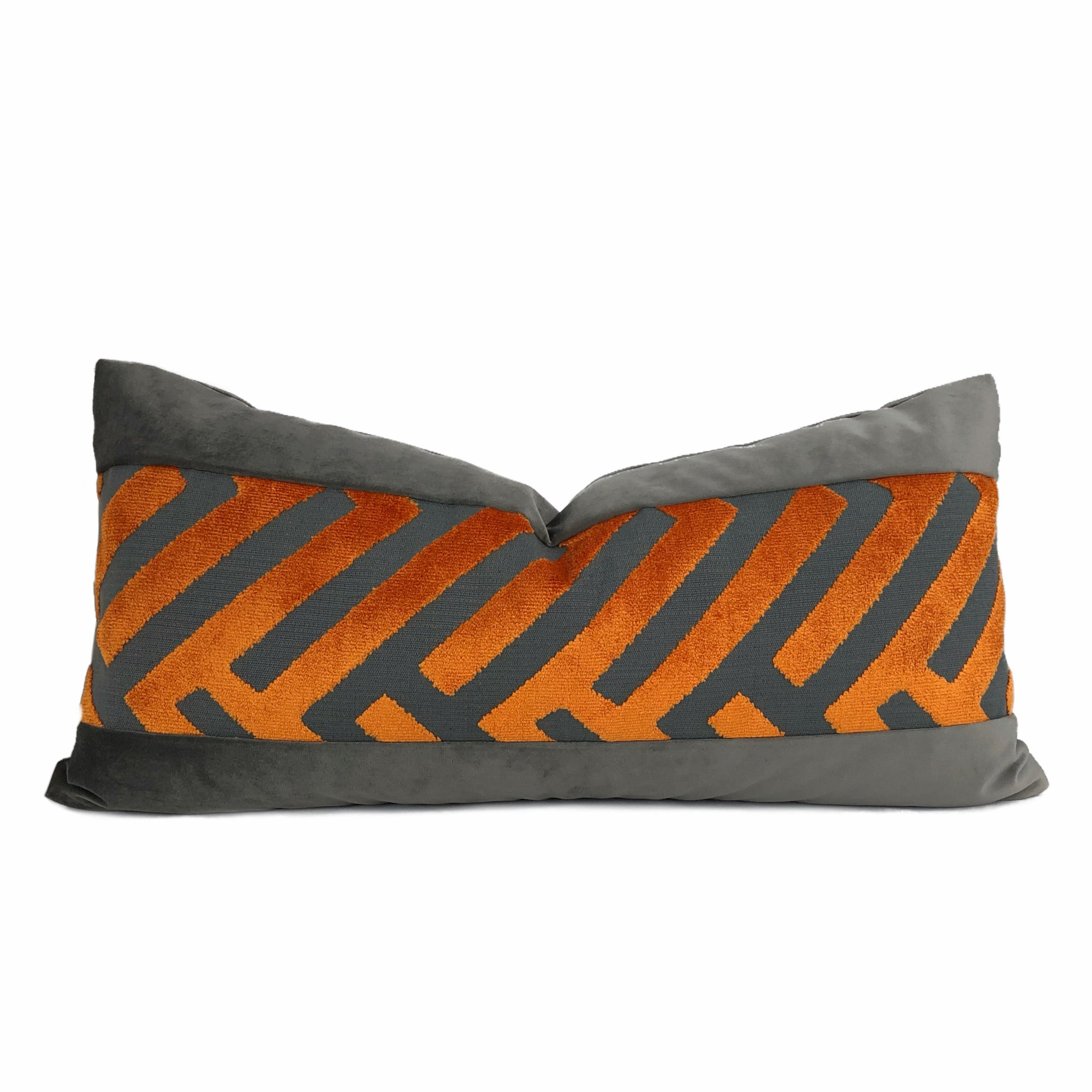 Euclid Orange Gray Chevron Panel Velvet Pillow Cover