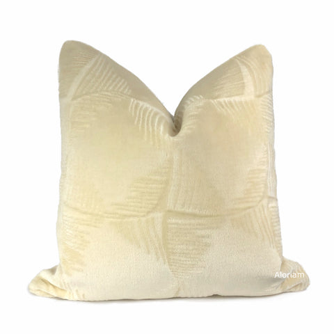 Ludlow Cream Mohair Velvet Pillow Cover (Brunschwig & Fils Fabric)