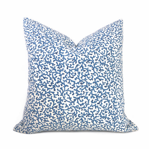 Waterford Blue White Floral Vine Cotton Print Pillow Cover