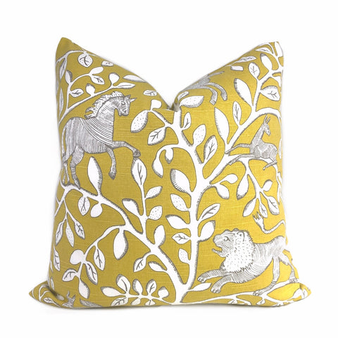 Dwell Studio Pantheon Folk Art Animals Forest Yellow Cream Pillow Cushion Cover