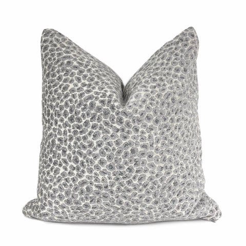 Niobe Gray Leopard Spots Chenille Pillow Cover