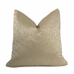 Golden Beige Embossed Satin Textured Maze Labyrinth Pillow Cushion Cover