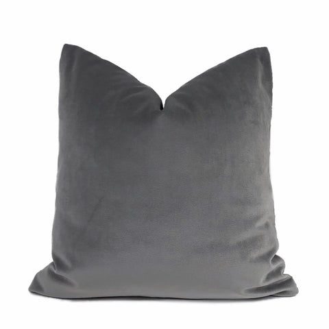 Brixton Medium Gray Cotton Velvet Pillow Cover