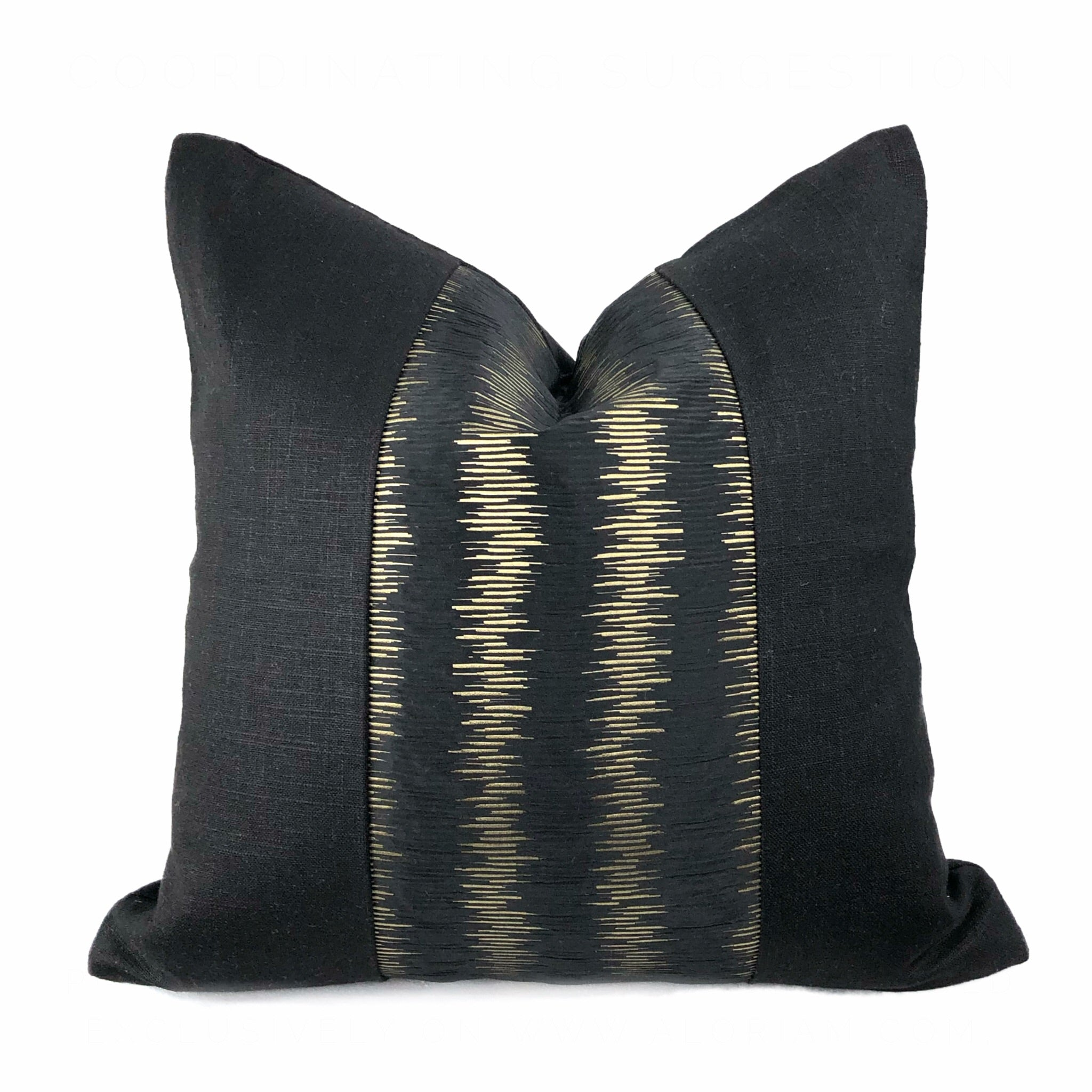 Elgin Silk Ripple Black & Gold Panel Pillow Cover