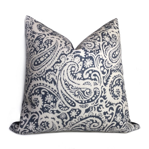 Kravet Arta Indigo Blue White Paisley Linen Pillow Cushion Cover