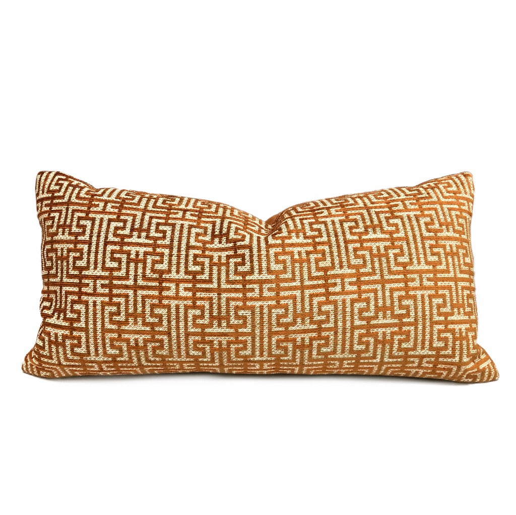 Robert Allen Maze Play Saffron Orange Ivory Geometric Fretwork Lattice Pillow Cushion Cover