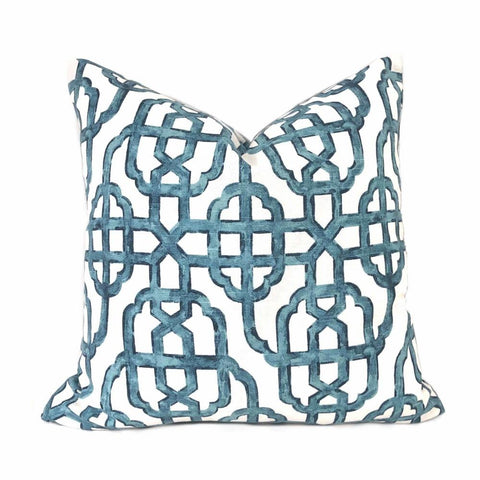 Imperial Trellis Seaside Blue White Pillow Cover (Lacefield Designs Fabric) Cushion Pillow Case Euro Sham 16x16 18x18 20x20 22x22 24x24 26x26 28x28 Lumbar Pillow 12x18 12x20 12x24 14x20 16x26 by Aloriam