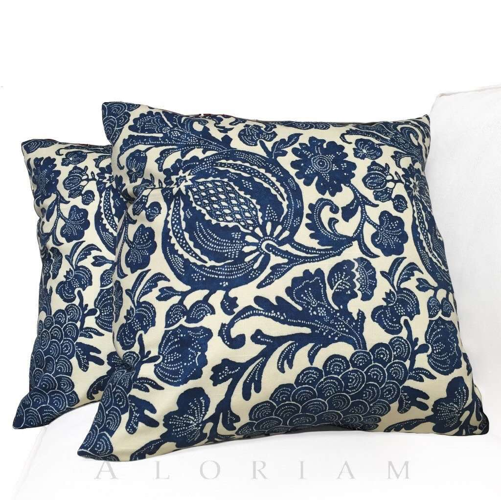 Indigo Batik Jacobean Floral Blue Light Beige Pillow Cover