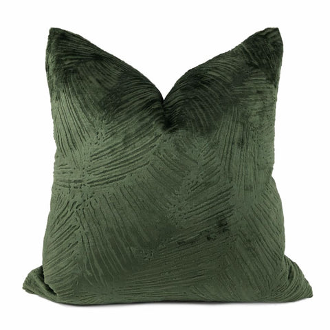 Isla Jungle Green Crosshatch Leaf Texture Velvet Pillow Cover - Aloriam