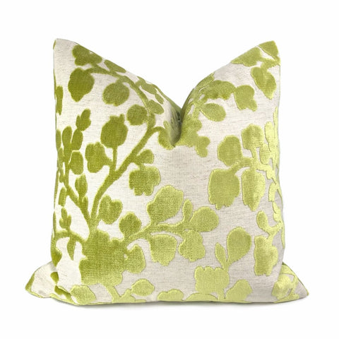 Ivie Peridot Green Floral Cut Velvet Pillow Cover - Aloriam