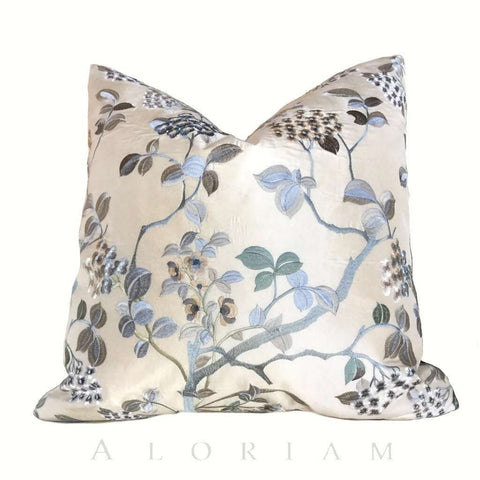 Ivory Cream Silk Embroidered Floral Pillow Cushion Cover