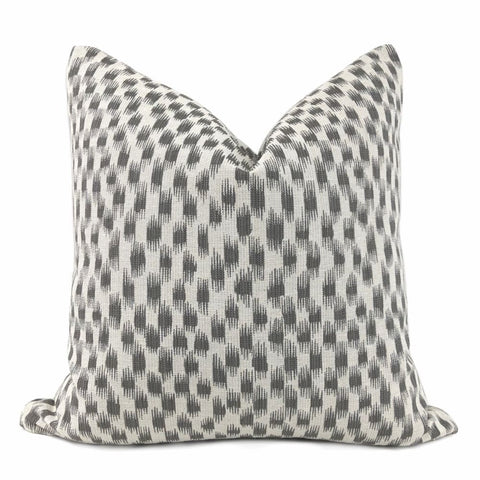Izmir Gray Off-White Ikat Blocks Pillow Cover - Aloriam