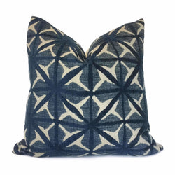 Jaipur Blue Beige Geometric Grid Pillow Cover Cushion Pillow Case Euro Sham 16x16 18x18 20x20 22x22 24x24 26x26 28x28 Lumbar Pillow 12x18 12x20 12x24 14x20 16x26 by Aloriam