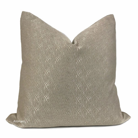 Jentry Haze Taupe Grayish Brown Abstract Wavy Lines Pillow Cover (Kravet Candice Olson fabric) - Aloriam