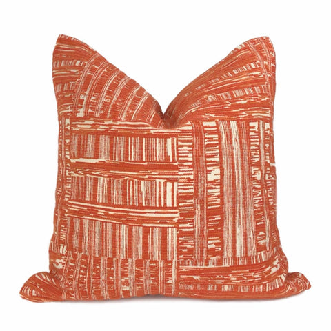 Joplin Orange Cream Abstract Texture Chenille Pillow Cover - Aloriam