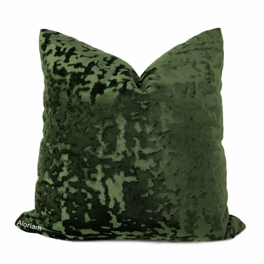 Kael Dark Green Abstract Distressed Tonal Velvet Pillow Cover - Aloriam