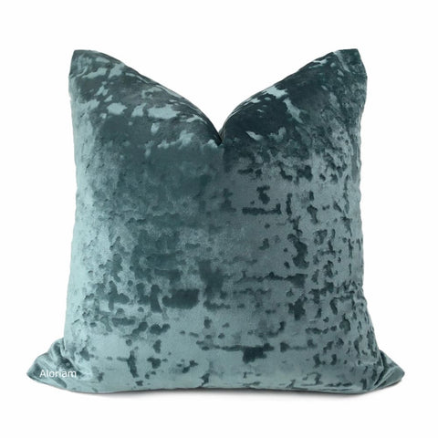 Kael Mineral Green Abstract Distressed Tonal Velvet Pillow Cover - Aloriam