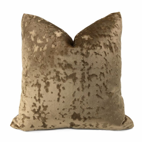 Kael Sable Brown Abstract Distressed Tonal Velvet Pillow Cover - Aloriam
