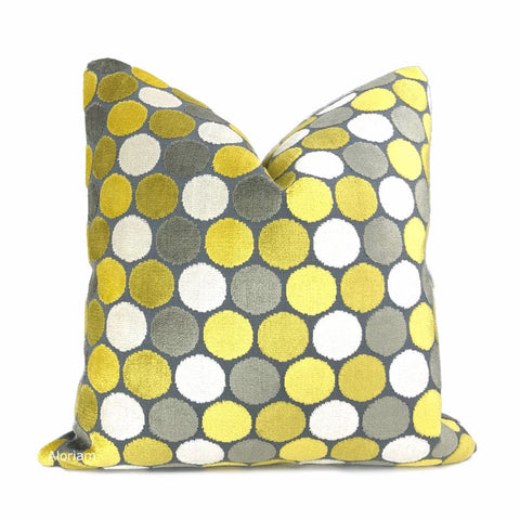 Kendall Yellow Gray White Large Polka Dot Velvet Pillow Cover - Aloriam