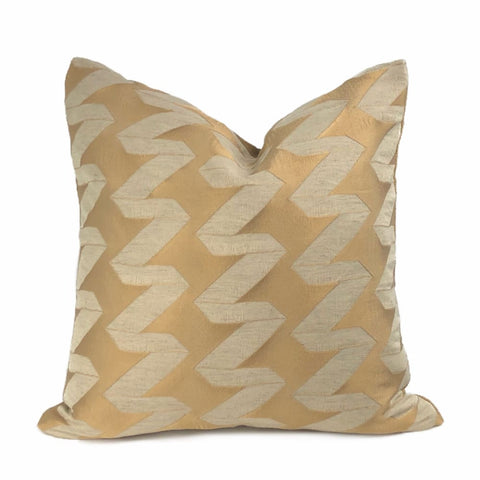 Kenzi Coppery Gold Beige Zig Zag Pillow Cover - Aloriam