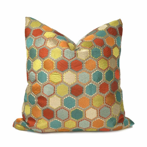 Khalia Multicolor Embroidered Hexagon Geometric Pillow Cover - Aloriam