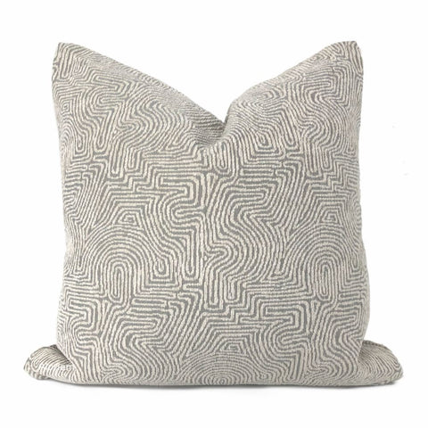 Khandek Gray Tribal Maze Pillow Cover - Aloriam