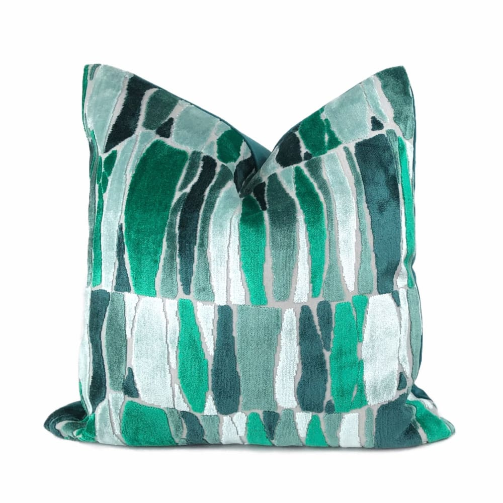 Kieran Abstract Green Velvet Pillow Cover - Aloriam