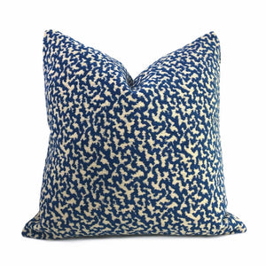 Kimball Navy Blue & Almond Abstract Squiggles Chenille Pillow Cover