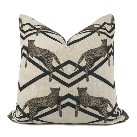 Kingsley Black Beige Deco Leopard Pillow Cover - Aloriam