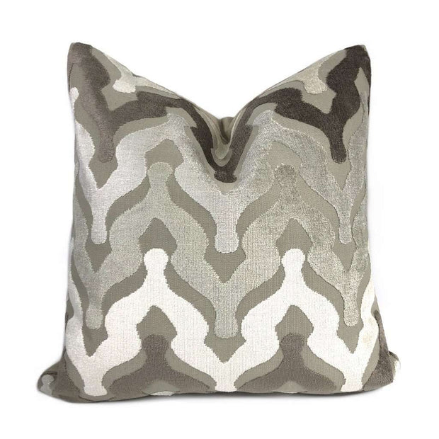 Kittredge Brown Beige Cream Cut Velvet Ogee Waves Pillow Cover Cushion Pillow Case Euro Sham 16x16 18x18 20x20 22x22 24x24 26x26 28x28 Lumbar Pillow 12x18 12x20 12x24 14x20 16x26 by Aloriam