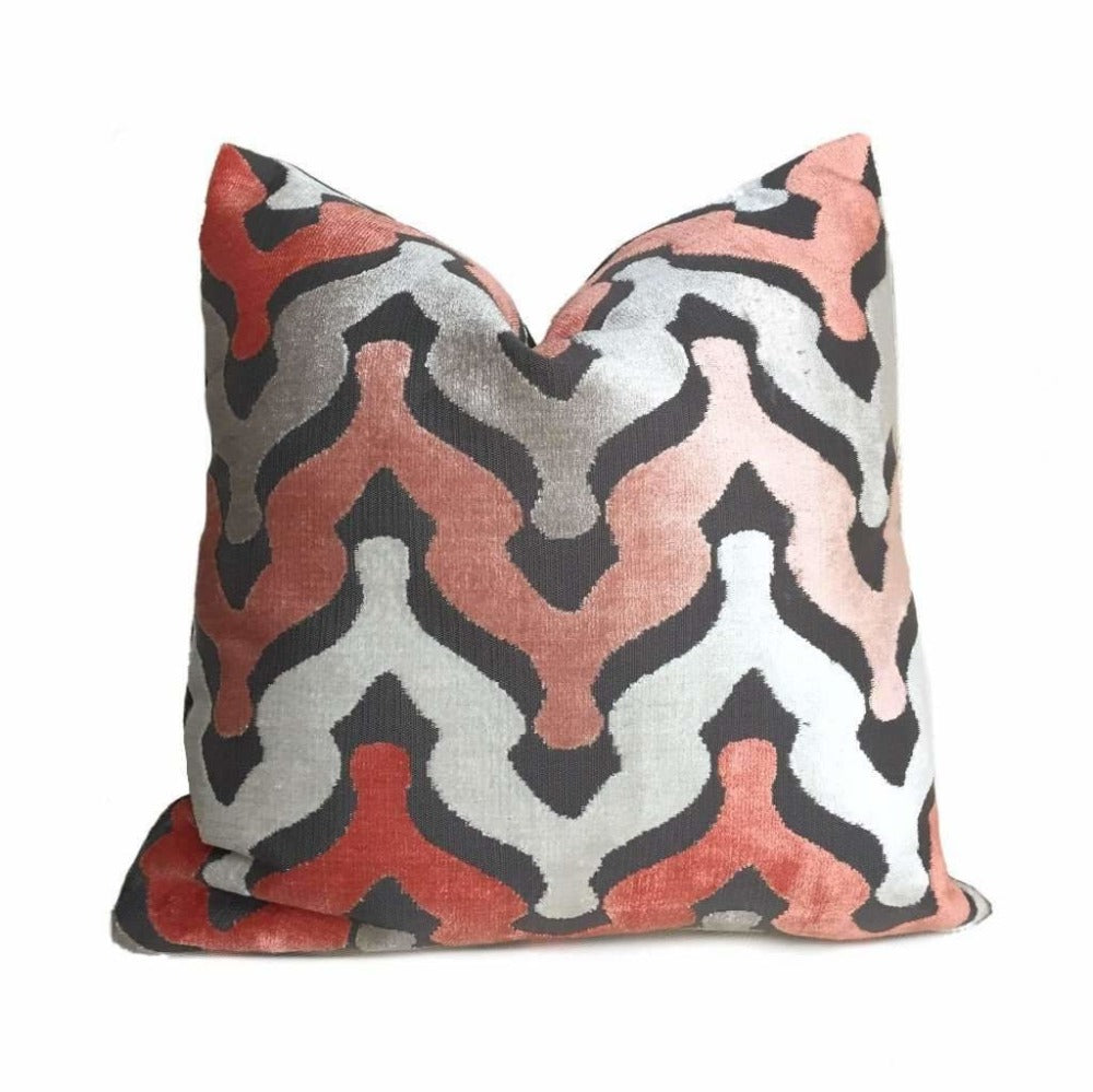 Designer Ogee Wave Coral Pink Gray Cream Cut Velvet Pillow Cover by Aloriam