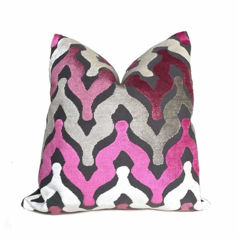 Designer Ogee Wave Magenta Pink Purple Gray Cream Cut Velvet Pillow Cover by Aloriam
