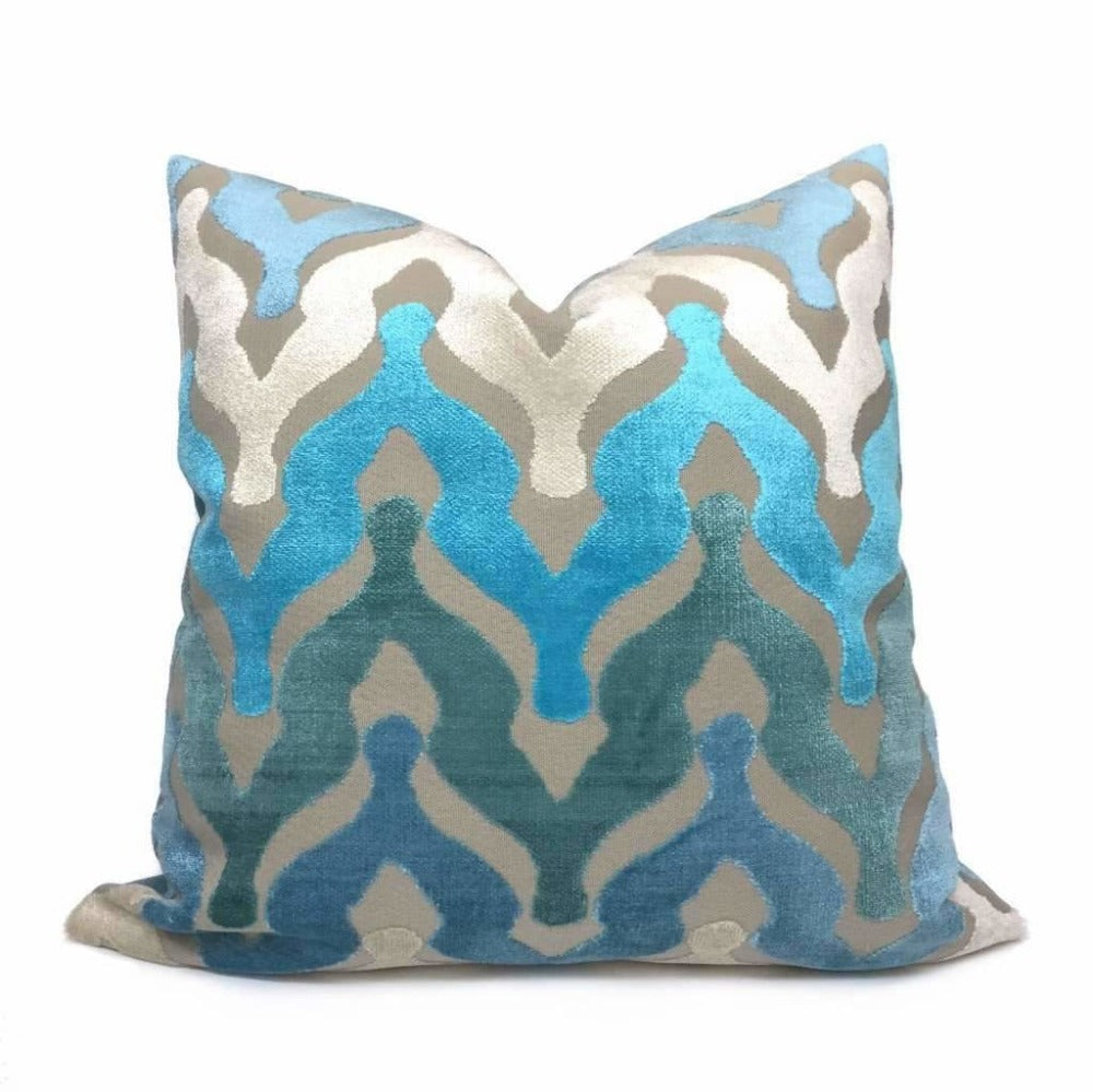 Designer Ogee Wave Turquoise Blue Cream Beige Cut Velvet Pillow Cover by Aloriam