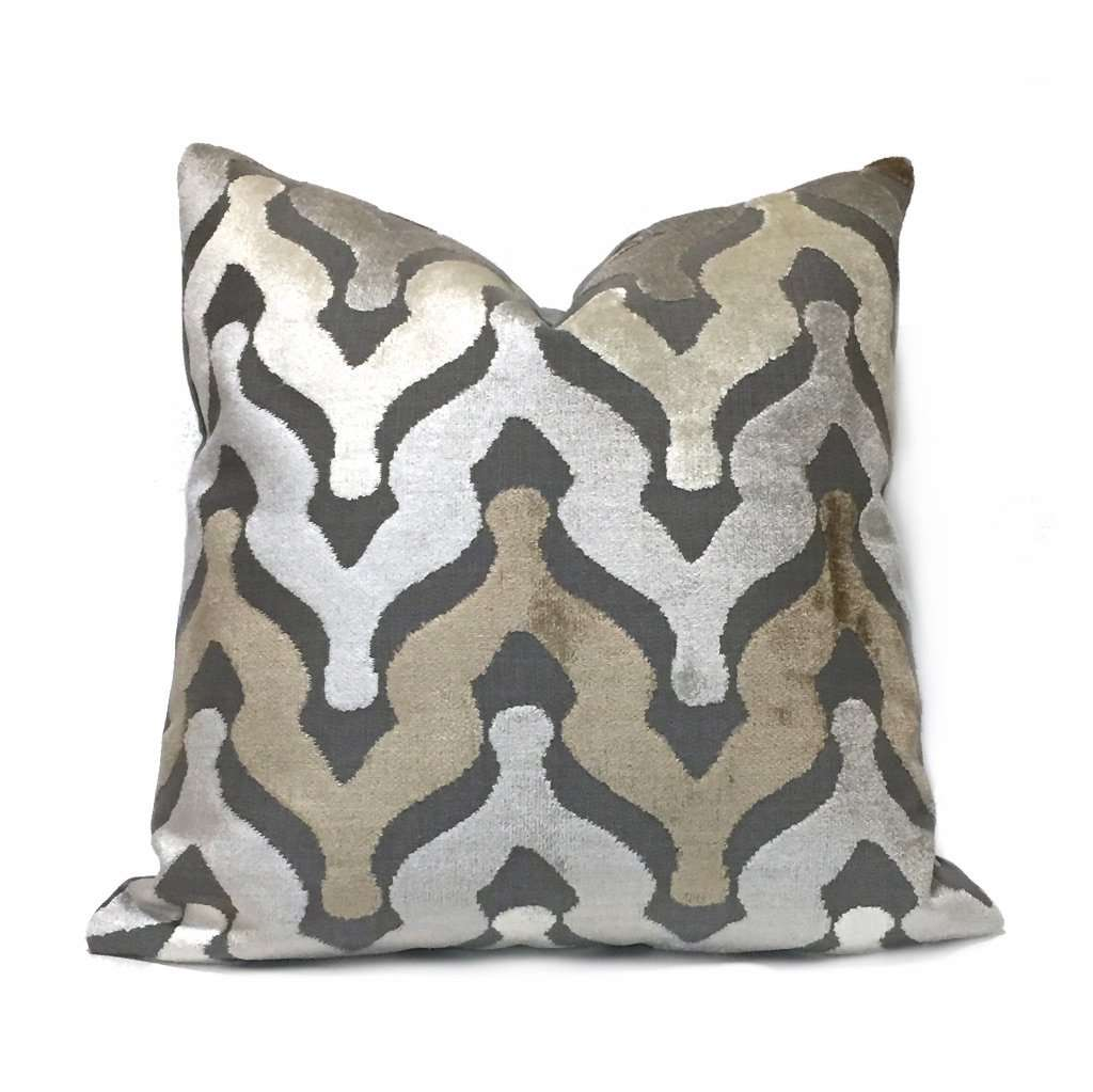 Kittredge Taupe Brown Beige Gray Cut Velvet Ogee Waves Pillow Cover Sham 16x16 18x18 20x20 22x22 24x24 26x26 28x28