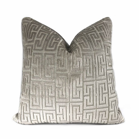 Knossos Mineral Gray Greek Key Cut Velvet Pillow Cover - Aloriam