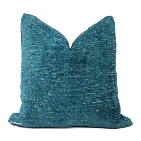 Knox Peacock Teal Slub Textured Chenille Pillow Cover - Aloriam