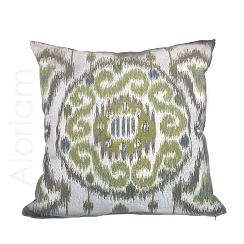 Kravet 31393.313 Ikat Kilim Southwest Medallion Lime Green Gray Pillow Cushion Cover