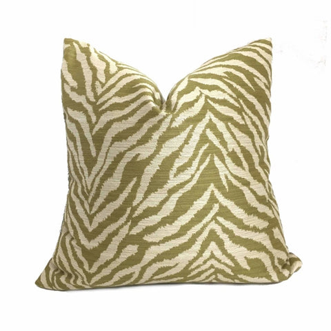 Kravet 32081.3 Faux Tiger Animal Stripe Green Ivory Pillow Cushion Cover Cushion Pillow Case Euro Sham 16x16 18x18 20x20 22x22 24x24 26x26 28x28 Lumbar Pillow 12x18 12x20 12x24 14x20 16x26 by Aloriam