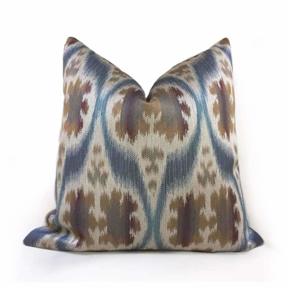 Kravet 32548.516 Ikat Southwest Motif Slate Blue Tan Beige Brown Pillow Cover - Aloriam