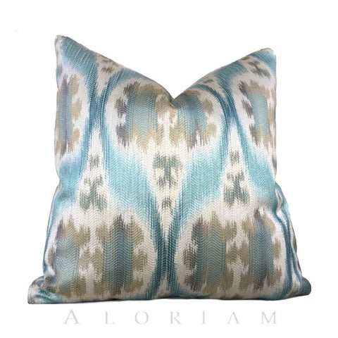 Kravet 32548.1635 Ikat Southwest Motif Aqua Blue Beige Pillow Cushion Cover