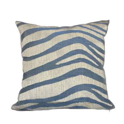 Kravet Alexa Hampton Tuckahoe Ripple Blue Beige Large Animal Stripe Pillow Cushion Cover - Aloriam