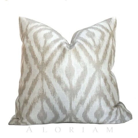 Kravet Beige Cream Ikat Diamond Geometric Pillow