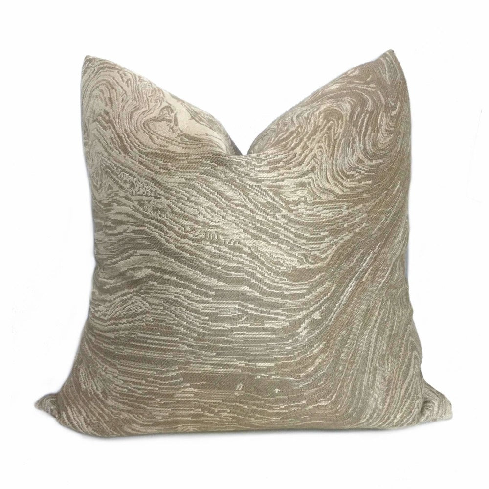 Kravet Beige Tan Agate Marble Geology Pattern Pillow Cover