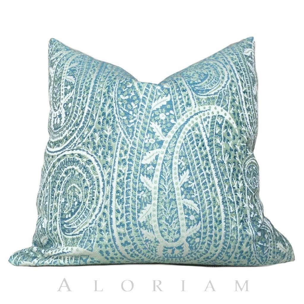Kravet Blue Green Cream Paisley Floral Pattern Pillow Cushion Zipper Cover Cushion Pillow Case Euro Sham 16x16 18x18 20x20 22x22 24x24 26x26 28x28 Lumbar Pillow 12x18 12x20 12x24 14x20 16x26 by Aloriam
