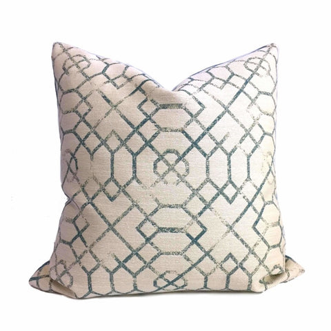 Kravet Candice Olson Joie de Vivre Blue Cream Asian Fretwork Pillow Cover by Aloriam