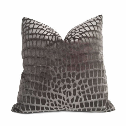 Kravet Candice Olson Tanjung Crocodile Alligator Pattern Charcoal Gray Velvet Pilllow Cover by Aloriam