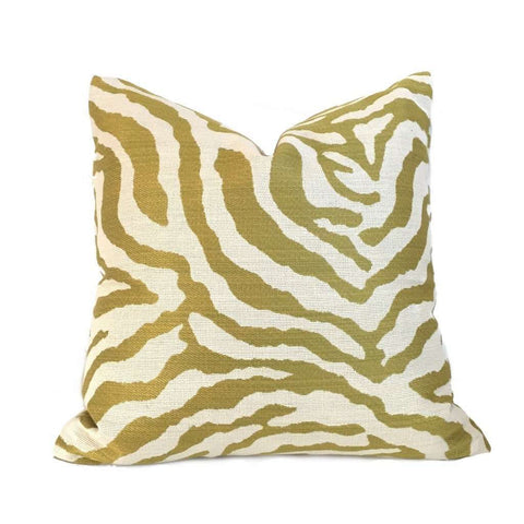 Kravet Citron Cream Tiger Animal Stripe Pillow Cover,  Fits 22x22 Cushion Inserts Cushion Pillow Case Euro Sham 16x16 18x18 20x20 22x22 24x24 26x26 28x28 Lumbar Pillow 12x18 12x20 12x24 14x20 16x26 by Aloriam
